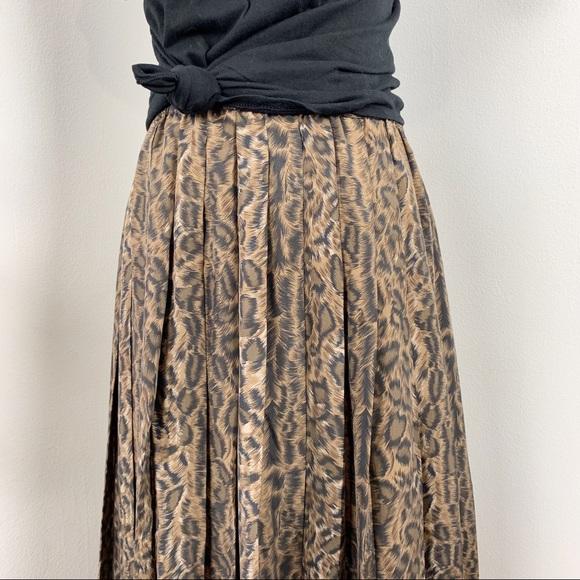 Spiegel Vintage Leopard Silk Pleated Midi Skirt